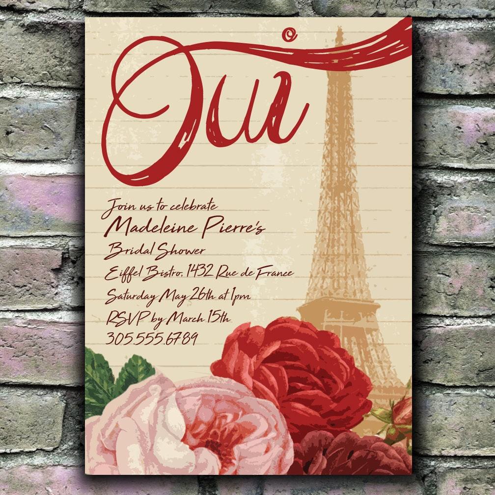 Oui Paris theme Floral Bridal Shower / Party Invitation | Etsy