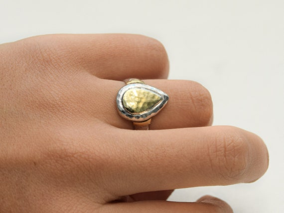 Hammered Silver & Gold Tear Drop Ring, Teardrop Wo