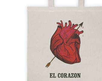 Loteria Tote Bag - El Corazon Card - Loteria Card Tote Bag - Occult Graphic Tote - Occult Bag - Mexican Loteria Bag