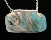White Sage and Sea Green Resin Necklace with Adjustable Length Sterling Silver Chain