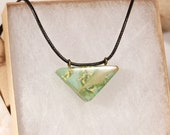 Of the Sea--Light Seafoam Green Resin with White Sage and Real Gold Leaf