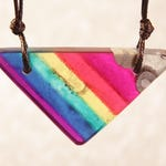 Rainbow Pride Necklace. Resin and Wood Pendant on Adjustable Length Waxed Cord