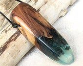 Resin and Wood Necklace--...