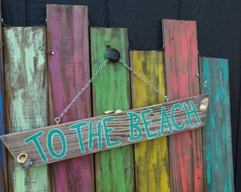 To The Beach wooden sign with shells, chain hanger, hand indoors or out
