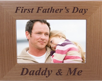 First Father's Day Daddy and me - 4x6 Inch Wood Picture Frame - Great for Father's Day, Birthday or Christmas Gift