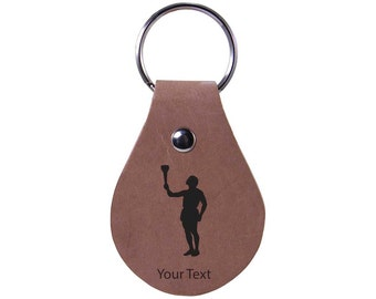 Personalized Engraved Custom Olympic Torch 2-1/2-inch High Quality Genuine Leather Keychain with Keyring Holiday Gift