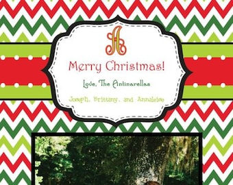 Red Lime Green Chevron Photo Christmas Card