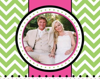 Pink and Green Chevron Photo Christmas Card