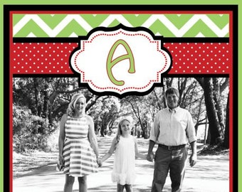 Red and Green Chevron and Polka Dot Photo Christmas Card