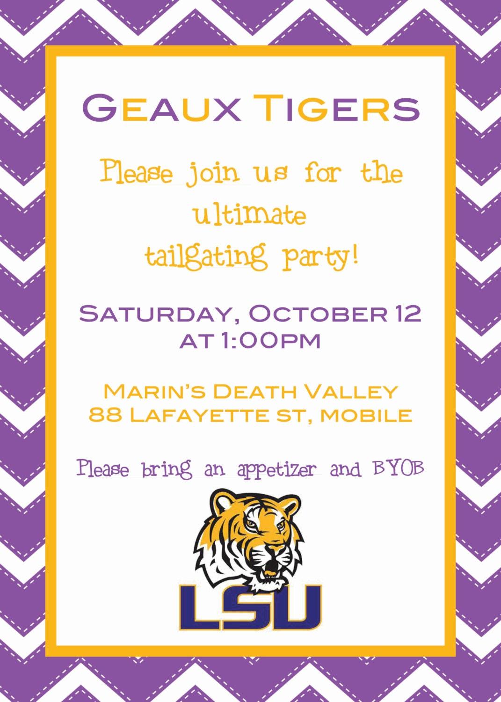 SEC LSU Football Tailgate Invitation