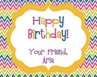 Bright Chevron Happy Birthday Personalized Gift Tag