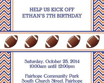 Chevron Auburn Invitation with Footballs