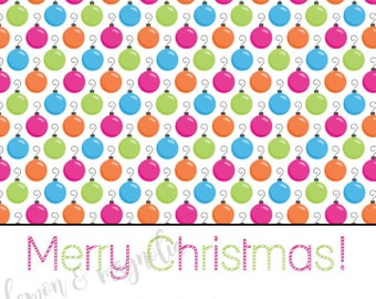 Personalized Fun and Festive Ornament Christmas Gift Tags/Calling Cards