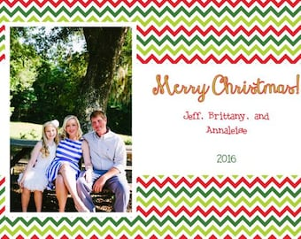 Red and Green Chevron Photo Christmas Card