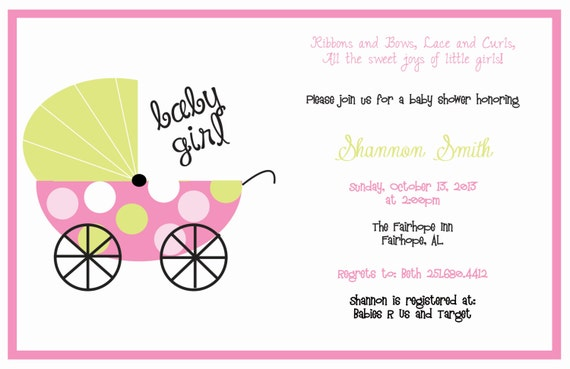 Pink And Green Baby Carriage Baby Shower Invitation Etsy