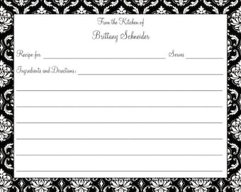 Black Damask Recipe Card
