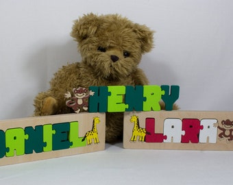 Framed Name Puzzle + 2 animals / characters - Handmade Wooden Jigsaw Names Unique gift for christenings & Birthdays