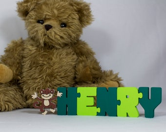 Name Puzzle with 1 animal / character - Painted - Handmade Unique Personalized Childs gift for christenings & Birthdays