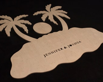 Palm Tree Island Puzzle - Alternative guest book for weddings and other occasions - Cut by Hand - Engraving and signing pen included
