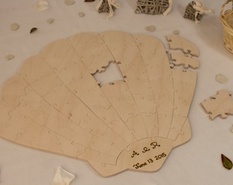 Sea Shell Puzzle - Wooden Alternative guest book for weddings and other occasions - Cut by Hand - Engraving and signing pen included
