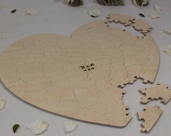Heart Shaped Puzzle - Wooden Alternative Guest Book  –  For weddings and other occasions - Cut by Hand - Engraving and signing pen included