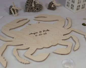 Crab Shaped Puzzle - Wooden Alternative guest book for weddings and other occasions - Cut by Hand - Engraving and signing pen included