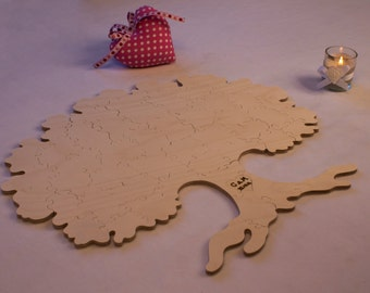 Tree Puzzle - Wooden Alternative Guest Book - For weddings and other occasions - Cut by Hand - Engraving and signing pen included