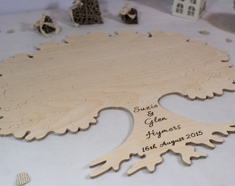 Tree With Roots Puzzle - Wooden Alternative Guest Book  –  For weddings & other occasions - Cut by Hand - Engraving and signing pen included