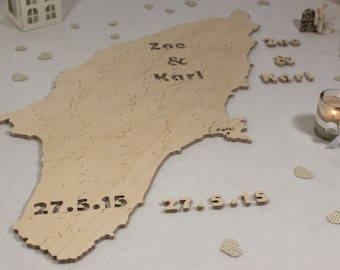 Map / Custom Shaped Puzzle - Alternative guest book puzzle for weddings & other occasions - Cut by Hand - Engraving and signing pen included