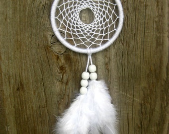 White Car Dream Catcher White Car Rear Mirror Dreamcatcher Small White Dream Catcher Nativeamerican Southwestern Hanging