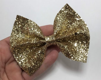 Glitter Bow Gold Girl Bow Glitter Frozen Bow