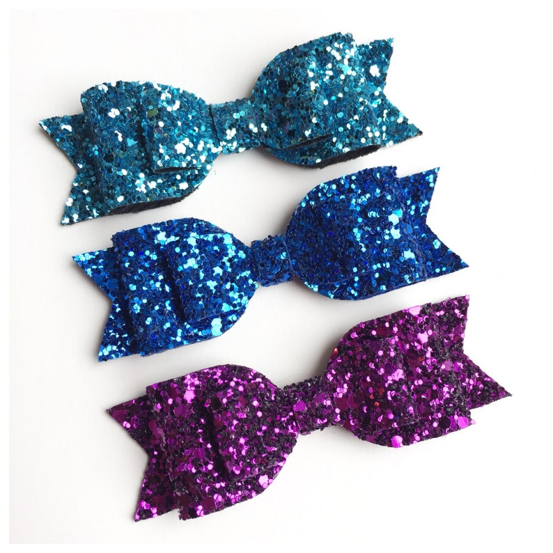 Glitter Bow Purple Sparkly Bow Medium Glitter Bow Turquoise Glitter Bow Blue Bow