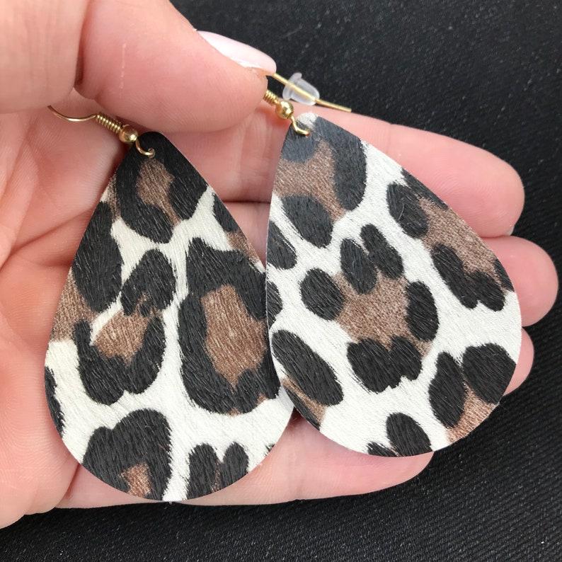 Womens Earrings Leopard Earrings Leopard Print Leather Earrings Faux Leather Earrings
