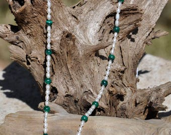 """18"""" SS Necklace with FW Pearls and Malachite"""