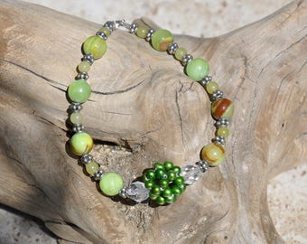 7 1/2 inch Bracelet with Sterling Silver Lobster, Bali Silver and Afghanistan Jade, Green FW Pearl and Swarovski Crystals