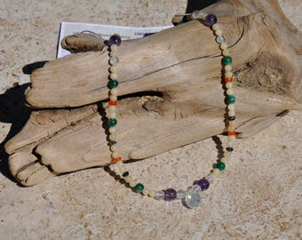 18 in SS Necklace with White Jade, Iolite, Milky Opal, Amethyst, Carnelian, Rose Quartz and Aventurine