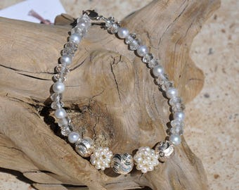 8-3/4 inch Bracelet with SS Lobster Claw Clasp, Bali Silver, Faceted Crystal Quartz and FW Pearls