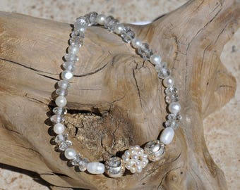 8-3/4 inch Bracelet, with SS Lobster Claw Clasp, FW Pearls, Faceted Crystal Quarts and Bali Silver