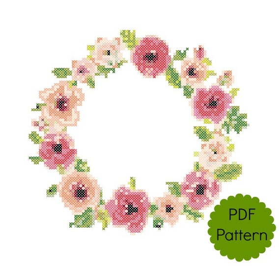 Floral border cross stitch pattern pdf modern counted cross etsy image 0 mightylinksfo