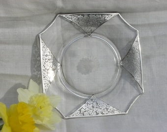 Glass Dish - Silver Overlay - Vintage