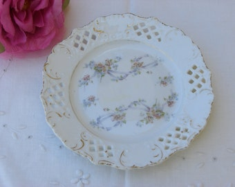 Side Plate - China - Reticulated Edge - Antique