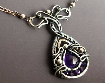 Amethyst Necklace, Teardrop Necklace, Art Nouveau Necklace, Vintage Style Necklace, Purple Necklace, Sterling Silver Necklace, Romantic