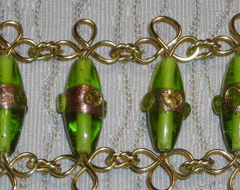 """Light Green Lampwork Bead and Wire Necklace, """"Cuff"""" Bracelet and Earrings Set"""