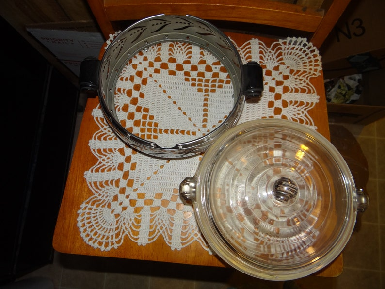 Vintage Glasbake  Covered Casserole Dish with Stainless Steel Cradle