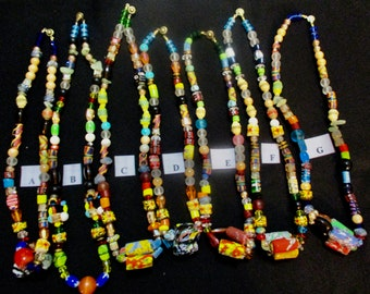 Handcrafted Glass Bead Women's Necklace African Fair Trade authentic Jewelry