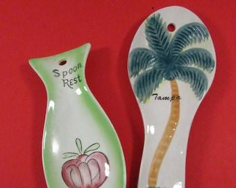 Vintage Colorful Bahamas Souvenir Spoon Rest Tropical Beach Decor
