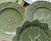 Vintage Green Majolica Plate Bordallo Pinneiro Portugal Art Pottery Collectible EACH