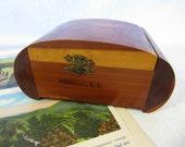 Vintage NC Souvenir Cedar Box Curved Art Deco Shape Trinket Box