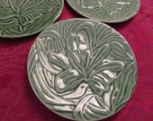 Vintage Green Majolica Lily Plate Bordallo Pinneiro Portugal Art Pottery Collectible EACH