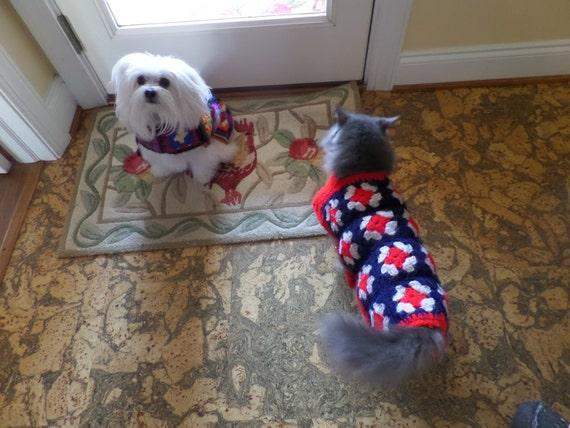 Vintage Handmade Crochet Dog Sweater, Cat Sweater, Puppy Sweater, Kitten Sweater, Dog Coat, Cat Coat, Dog Blanket, Cat Blanket, Pet Throw